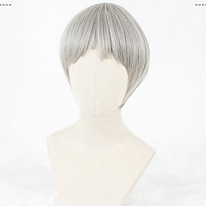 cheap Costume Wigs-Cosplay Wig Lolita Straight Cosplay Halloween Bob Neat Bang Wig Short Grey Synthetic Hair 12 inch Women's Anime Cosplay Comfortable Gray