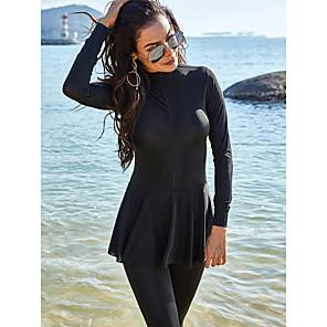 cheap Wetsuits, Diving Suits & Rash Guard Shirts-Women's Casual / Sporty One-piece Rash Guard Swimsuit Ruffle Slim Zipper Solid Colored High Neck Swimwear Bathing Suits Black / Padless