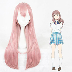 cheap Anime Costumes-Cosplay Wig Shoko Nishimiya A Silent Voice Straight Cosplay With Bangs Wig Very Long Pink Synthetic Hair 30 inch Women's Anime Cosplay Lovely Pink