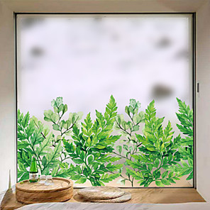 cheap Wall Stickers-Frosted Privacy Green Plants Pattern Window Film Home Bedroom Bathroom Glass Window Film Stickers Self Adhesive Sticker 58 x 60CM