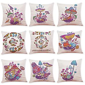 cheap Throw Pillow Covers-9 pcs Linen Pillow Cover Creative Color Mushroom Linen Pillow Case Car Pillow Cushion Sofa Pillow Pillow Office Nap Pillow