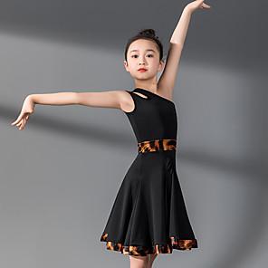 cheap Latin Dancewear-Kids' Dancewear Dress Split Joint Girls' Training Performance Sleeveless Natural Nylon