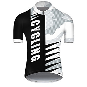cheap Cycling Jerseys-21Grams Men's Short Sleeve Cycling Jersey Nylon Polyester Black / White Patchwork Camo / Camouflage Bike Jersey Top Mountain Bike MTB Road Bike Cycling Breathable Quick Dry Ultraviolet Resistant