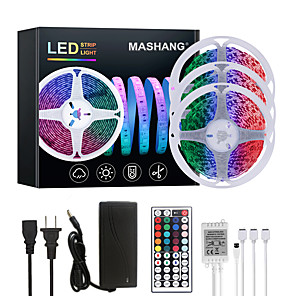 cheap LED Strip Lights-MASHANG 15M(3*5M) LED Strip Lights RGB Tiktok Lights 900LEDs Flexible Color Change SMD 5050 with 44 Keys IR Remote Controller and 100-240V Adapter for Home Bedroom Kitchen TV Back Lights DIY Deco