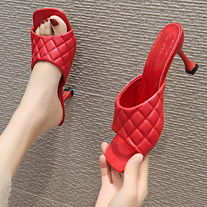 cheap Women's Sandals-Women's Sandals / Clogs & Mules Summer Stiletto Heel Peep Toe Daily PU Almond / White / Black