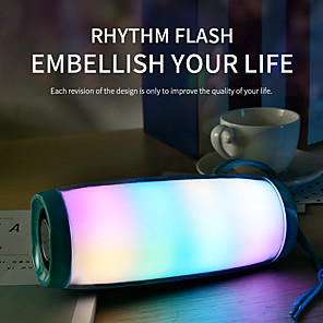 cheap Outdoor Speakers-LED Flashing Light Bluetooth Speaker Portable With Rope Outdoor Loundspeaker 1200 mAh Fabric Waterproof Subwoofer FM Radio