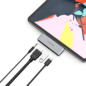 cheap USB Hubs & Switches-PULWTOP USB Type C Hub iPad Pro Hub 4 in 1 USB C iPad Adapter with 4K HDMI PD3.0 60W USB2.0 3.5mm Audio Compatible with iPad Pro Macbook Ultrabook