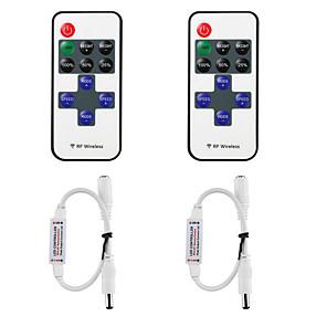 preiswerte Lichtschalter-5050 3528 2835 Lampe mit Lichtleistenmodul Monochrom-LED-Controller 11-Tasten-Funk-HF-Fernbedienungsdimmer 12-24 V für LED-Lichtleiste 2-tlg