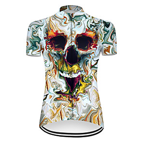 cheap Cycling Jerseys-21Grams Women's Short Sleeve Cycling Jersey Nylon Polyester Blue / White 3D Novelty Skull Bike Jersey Top Mountain Bike MTB Road Bike Cycling Breathable Quick Dry Ultraviolet Resistant Sports