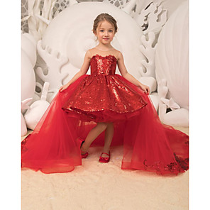 cheap Movie & TV Theme Costumes-Ball Gown Court Train Wedding / Party Flower Girl Dresses - Tulle Sleeveless Strapless with Bow(s) / Appliques / Paillette