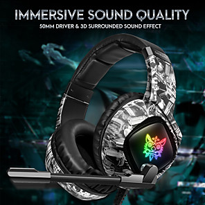 cheap Gaming Headsets-ONIKUMA K19 3.5mm Wired Gaming Headset Over Ear Headphones  with Mic LED for PC Laptop PS4 Smart Phone