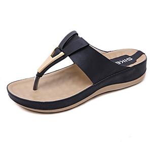cheap Women's Sandals-Women's Slippers & Flip-Flops Summer Wedge Heel Round Toe Causal Daily PU Almond / Black