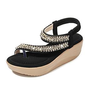 cheap Women's Sandals-Women's Sandals Summer Wedge Heel Open Toe Daily PU Almond / Black / Red / Bunion Sandals