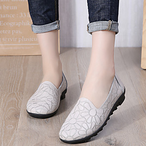 cheap Historical & Vintage Costumes-Women's Loafers & Slip-Ons Summer / Fall Flat Heel Round Toe Casual Basic Sweet Daily Outdoor PU Walking Shoes White / Black / Green