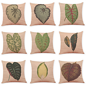 cheap Throw Pillow Covers-9 pcs Linen Pillow Cover, Leaf Casual Modern Square Traditional Classic