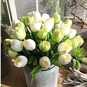 cheap Artificial Plants-35.5cm PU Artificial Tulips Wedding Car Decoration Small Tulips for Home Garden Decoration Accessories