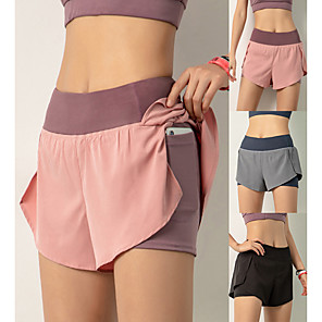 cheap Exercise, Fitness & Yoga Clothing-Women's High Waist Running Shorts 2 in 1 Elastic Waistband Fashion Black Pink Dusty Blue Yoga Running Fitness Shorts Bottoms Sport Activewear Lightweight Breathable Quick Dry Tummy Control High