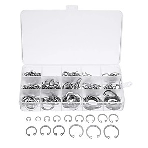 cheap Exhaust Systems-270Pcs Silver C-type Circlip Stainless Steel 15 Size Internal& External with Case