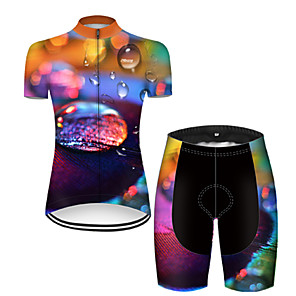 cheap Cycling Jersey & Shorts / Pants Sets-21Grams Women's Short Sleeve Cycling Jersey with Shorts Nylon Polyester Black / Orange 3D Rainbow Gradient Bike Clothing Suit Breathable 3D Pad Quick Dry Ultraviolet Resistant Reflective Strips Sports