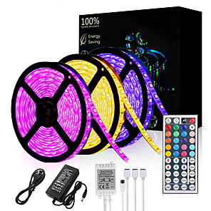 cheap LED Strip Lights-15M(3*5M) LED Light Strips RGB Tiktok Lights 3528 SMD 900 LEDs 8mm Strip Flexible Light LED Tape waterproof AC 12V 600LEDs with 44Key IR Remote Controller Kit