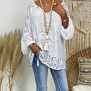 cheap Women's Sandals-Women's Plus Size Blouse Floral Lace Hollow Out Long Sleeve Loose Tops Lace Casual V Neck White