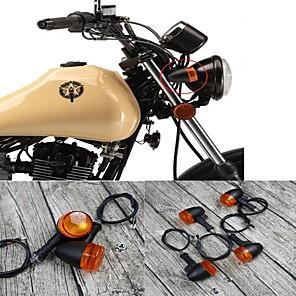 cheap Motorcycle Lighting-Universal 4PCS Retro Motorcycle Bike Flasher Black Front Rear Blinker Turn Lights Indicator