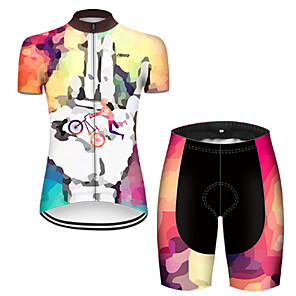 cheap Cycling Jerseys-21Grams Women's Short Sleeve Cycling Jersey with Shorts Nylon Polyester Orange+White Patchwork Gradient Funny Bike Clothing Suit Breathable 3D Pad Quick Dry Ultraviolet Resistant Reflective Strips