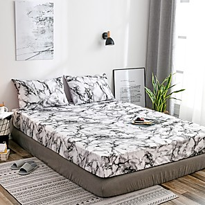 cheap Solid Duvet Covers-White Marble Fitted Sheet Bedding Soft Microfiber Sheets White Marble Pattern Soft Hypo-allergenic Wrinkle Resistant Durable Deep Pocket Bedding Bottom Sheet Single/Full/Queen/King