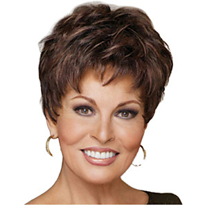 cheap Synthetic Trendy Wigs-Synthetic Wig kinky Straight Pixie Cut Wig Short Light Brown Synthetic Hair 12 inch Women's Simple Life Classic Light Brown