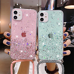 cheap iPhone Cases-Sparkle Glitter Strap Cord Chain Phone Necklace Lanyard Phone Case Carry Cover Hang For iPhone SE 2020  11 11 Pro 11Pro Max XS XS Max XR X 7Plus 8Plus 8 7 6Plus 6 6s 6sPlus