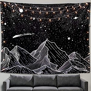 cheap LED String Lights-Wall Tapestry Art Decor Blanket Curtain Picnic Tablecloth Hanging Home Bedroom Living Room Dorm Decoration Black and White Mountain Galaxy Meteor Star Moon