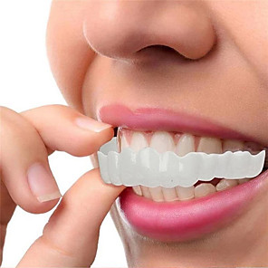 cheap Bathroom Gadgets-Silicone Teeth Whitening Teeth Cover Teeth Braces Simulation Denture Upper Lower Teeth Set Perfect Smile Teeth