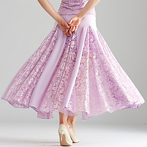 cheap Ballroom Dancewear-Ballroom Dance Skirts Split Joint Women's Performance Lace