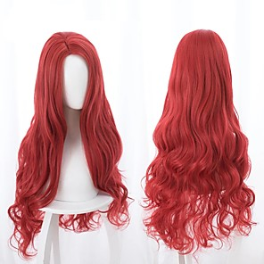 cheap Costume Wigs-Cosplay Wig Mera Aquaman Curly Cosplay Halloween Middle Part Wig Long Red Synthetic Hair 33 inch Women's Anime Cosplay Best Quality Red