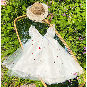 cheap Abstract Paintings-Kids Girls' Floral Dress White