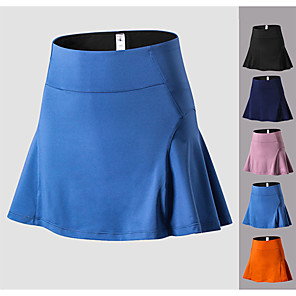cheap Golf, Tennis & Badminton-Women's Tennis Golf Skirt Butt Lift Quick Dry Breathable Sports Outdoor Autumn / Fall Spring Summer Spandex Solid Color Black Blue Pink Orange Dark Navy / High Elasticity / High Rise