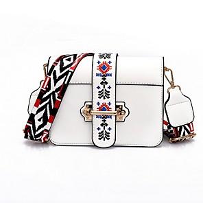 cheap Handbag & Totes-Women's Bags PU Leather Crossbody Bag Zipper / Chain for Daily White / Black