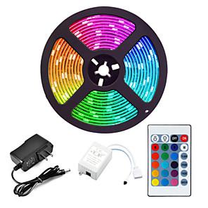 cheap LED Strip Lights-5M LED Strip Lights Flexible RGB Tiktok Lights 300 x 2835 8mm IR 24Key Remote Control Linkable Self-adhesive Color-Changing