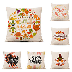 cheap Throw Pillow Covers-Set of 6 Farm Harvest Thanksgiving Theme Pillow Case Cushion Cover Lemon Summer Linen Home