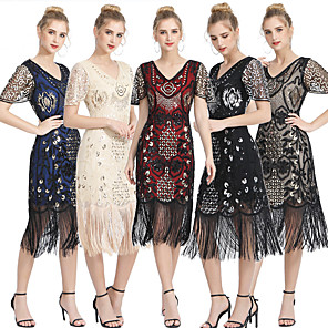 cheap Historical & Vintage Costumes-The Great Gatsby Vintage 1920s Flapper Dress Women's Sequins Tassel Fringe Costume Black+Golden / Black+Sliver / Red+Golden Vintage Cosplay Party Homecoming Prom