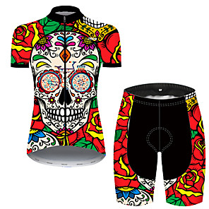 cheap Anime Costumes-21Grams Women's Short Sleeve Cycling Jersey with Shorts Nylon Polyester Black / Red Skull Floral Botanical Rose Bike Clothing Suit Breathable 3D Pad Quick Dry Ultraviolet Resistant Reflective Strips