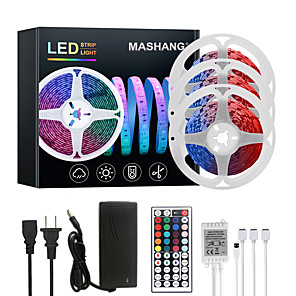 cheap LED Strip Lights-MASHANG 15M(3*5M) LED Strip Lights RGB Tiktok Lights 450LEDs Flexible Color Change SMD 5050 with 44 Keys IR Remote Controller and 100-240V Adapter for Home Bedroom Kitchen TV Back Lights DIY Deco