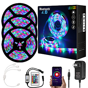 cheap LED Strip Lights-ZDM  15M (3*5M) App Intelligent Control Bluetooth Music Sync Flexible Led Strip Lights 2835 RGB SMD 540 LEDs IR 24 Key Bluetooth Controller with 12V 3A Adapter Kit