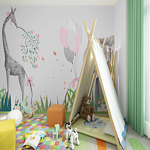 cheap Wallpaper-Art Deco Custom Self-adhesive Mural Wallpaper Deer Elephant Children Cartoon Style Suitable For Bedroom Wall Art