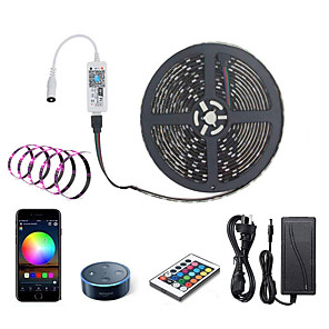 cheap LED Strip Lights-ZDM LED Light Strips RGB Tiktok Lights WiFi Intelligent Remote Dimming 5M 300 LEDS 5050 SMD with IR24 key Controller Kit DC12V