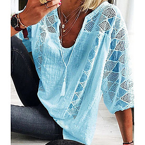 cheap Women's Sandals-Women's Plus Size Blouse Solid Colored Cut Out Lace up 3/4 Length Sleeve Tops White Blue Green