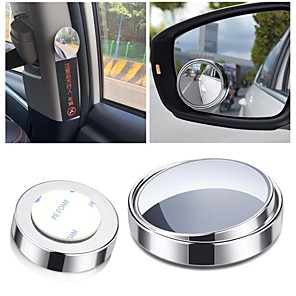 cheap Car Headlights-2pcs Car Accessories Small Round Mirror Car Rearview Mirror Blind Spot Wide-angle Lens 360 degree Rotation Adjustable