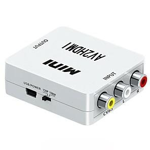 cheap HDMI Cables-HDMI to AV Scalar Converter HD Video Composite Adapter Box HDMI to RCA AV CVBS 1080P Mini HDMI2AV For HDTV PC DVD XBOX