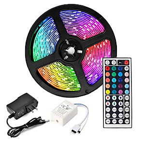 cheap LED String Lights-ZDM 5M LED Strip Lights Waterproof RGB Tiktok Lights 300 x 2835 8mm Flexible and IR 44Key Remote Control  Linkable Self-adhesive Color-Changing