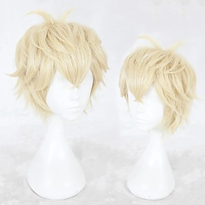 cheap Costume Wigs-Cosplay Costume Wig Cosplay Wig Zhou Qiluo Game Love and producer Curly Cosplay Halloween With Bangs Wig Blonde Short Blonde Synthetic Hair 12 inch Men's Anime Cosplay Easy to Carry Blonde